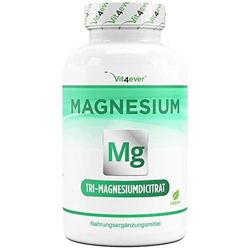 Magnesiumcitrat - 365 Kapseln - 2250mg davob 360 mg elementares Magnesium je Tagesportion - 100% Tri-Magnesiumdicitrat ohne Zusätze - Laborgeprüft - Hochdosiert - Vegan