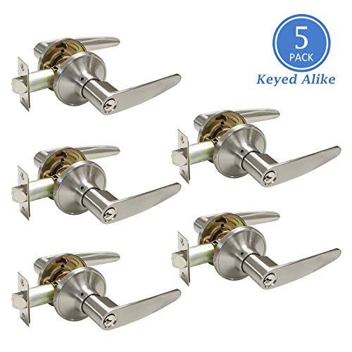 Door Lock with Keys, Satin Nickel Door Handle Exterior, Front Door Handleset Keyed Alike for Commercial/Residencial Use, Right or Left Handing, Contractor Pack of 5