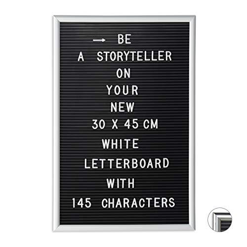 Relaxdays Letterboard mit Rahmen, 145 Buchstaben, Zahlen & Sonderzeichen, XL Rillentafel zum Stecken, 30 x 45 cm, weiß