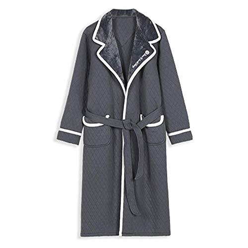 Tokyia Mantener caliente Los hombres del invierno del traje del algodón y el algodón acolchado de aire algodón laminado larga pijama albornoz con la correa de felpa ropa de dormir Albornoz, XL bata de