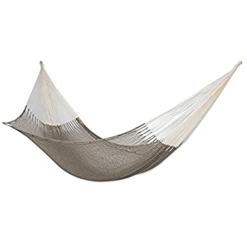 NOVICA Natural Grey Hand Woven Cotton 2 Person XL Mayan Rope Hammock with Hanging Accessories Maya Mist   Double