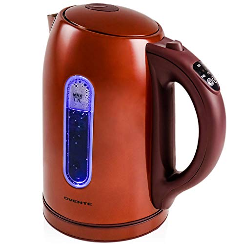 Ovente KS890BR Electric Kettle, 1.7L, Cordless, 1100W, BPA-Free, 5 Preset Settings, Auto Shut-Off & Boil-Dry Protection, Brown