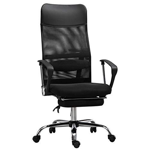 Silla de oficina, silla de oficina ergonómica cojín lumbar reposapiés retráctil negro ergonómico silla de oficina