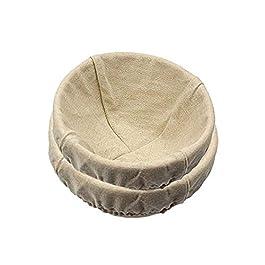 Lot de 2 Paniers bannetons à pain en rotin naturel faits main, avec doublure en lin Basket 2 Pack beige