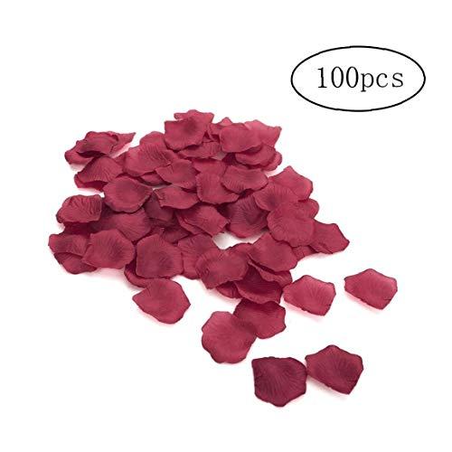 Pétalos de rosa de seda de imitación al tacto real, 10 unidades (1000 unidades) para decoración de la habitación del hogar, color rojo vino