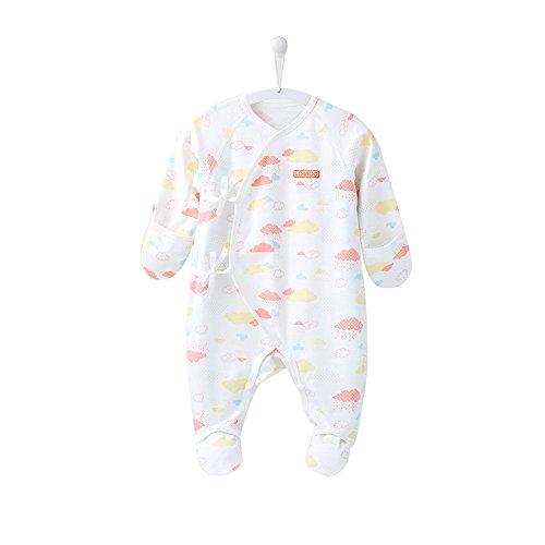 COBROO Pijama de bebé de 0 a 6 meses con manoplas estampado de nubes en todo el bebé, Pijama con cierre de corbata, 100% algodón, ropa para recién nacidos