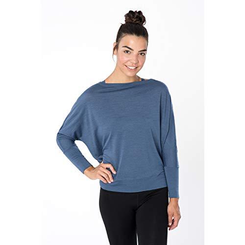 super.natural Leichtes Damen Langarm Yoga-Shirt, Mit Merinowolle, W KULA TOP, Größe: XL, Farbe: Dunkelblau