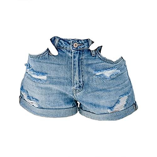 Short jeans feminino enrolado, cintura média, rasgado, envelhecido, casual, verão, calça curta, Clássico, Azul claro, Small