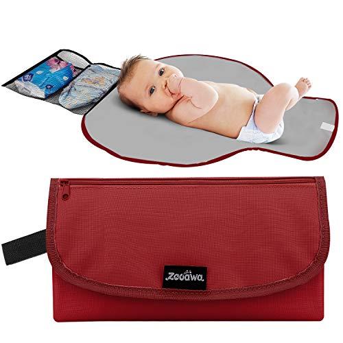 Zooawa Tragbare Windel Wickelauflage Matte Wasserdichte Klappstation Kupplung Reisetasche für Baby Kleinkinder, Rot