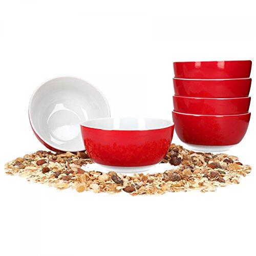 Van Well 6er Set Müsli- Salatschale Serie Vario Porzellan - Farbe wählbar, Farbe:rot