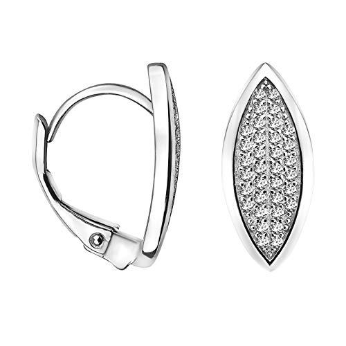 SOFIA MILANI - Damen Ohrringe 925 Silber - mit Zirkonia Steinen - Oval Creolen - 20805