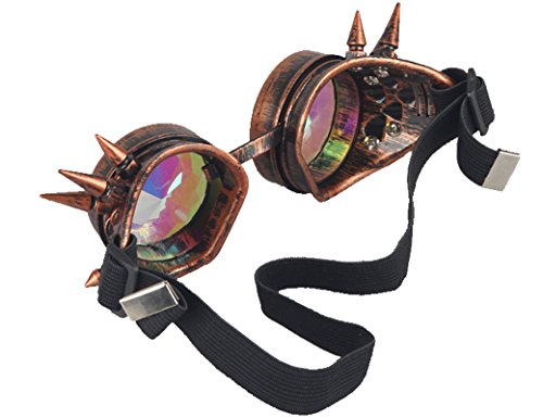 ZAIQUN Kaleidoscope Glasses Steampunk Goggles Rivet Steampunk Windproof Mirror Vintage Gothic Rave Rainbow Crystal Lenses Glasses steampunk buy now online