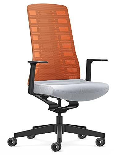 Interstuhl Bürostuhl Pure Active Edition – Anpassung an Gewicht und Bewegung – ergonomische Smart-Spring Technologie (Orange | Hellgrau)