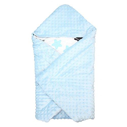 TupTam Baby Sommer Einschlagdecke für Babyschale, Farbe: Sterne Blau/Schwarz, Größe: ca. 75 x 75...