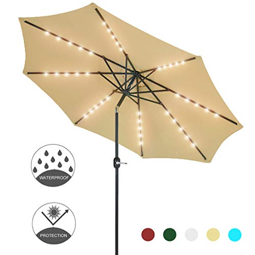 Patio Watcher 9-Ft Patio Umbrella 40 LED Lighted Solar Umbrella with Push Button Tilt and Crank, Outdoor Umbrella 8 Steel Ribs, Beige