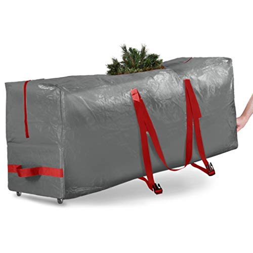 Rolling Large Christmas Tree Storage Bag - Fits Up to 7.5 ft. Artificial Disassembled Trees, Durable...