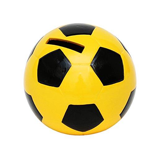 Dekohelden24 Spardose Fussball in schwarz gelb, ca. 10 x 10 x 10 cm