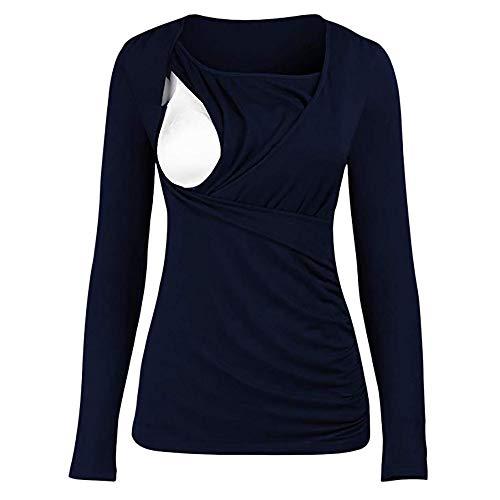 SANFAHSION Shirt de Maternité,Manche Longue de Grossesse Blouse d'allaitement Brassière Top Col Ronde Mode Vêtement Slime Shirt Confortable(Marine,XL)