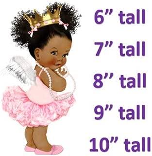 Pink Princess Ballerina Baby Girl Cake Edible Image,Pink Afro Puffs Baby Girl (10