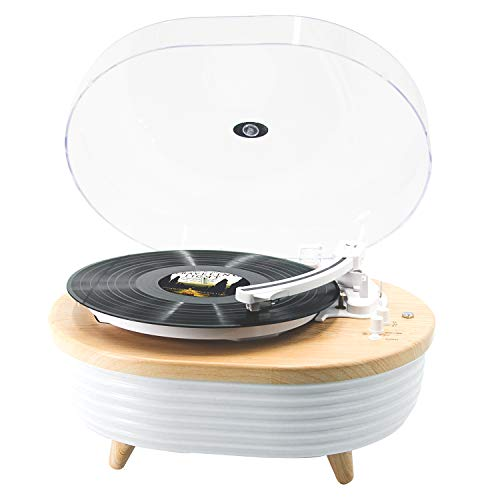Record Player Turntable, MPK Vinyl Player Bluetooth, Portable Wireless LED Built-in Colorful Stereo Speaker, Vinyl Turntable LP 2-Speed Belt Driven(Yellow Wood Color)