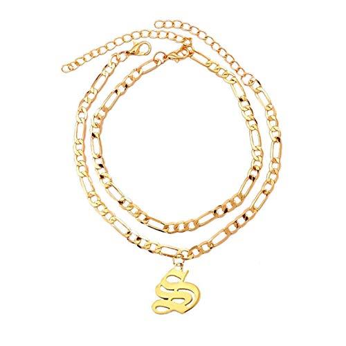 YUNGYE Pendant Nuevos Tobilleras de Letra Inicial S-Z para Las Mujeres Alfabeto de Oro tobetlet Pulsera de joyería de pie Accesorios para Mujer para Chicas (Metal Color : S)