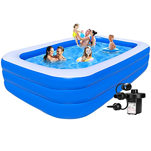 Inflatable Pool for Kids and Adults - Kiddie Pool Inflatable Swimming Pool for Kids Pools for Backyard Blow Up Pool 120  X 72  X 22  Air Pump Kids Pool Family Pool, Toddlers, Lounge Water Play Party