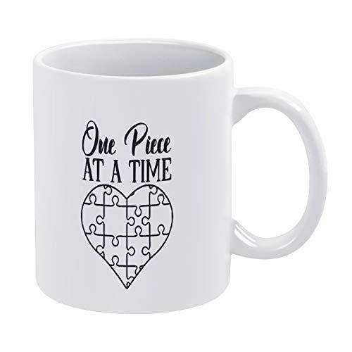 Taza de café negra One Piece at A Time para hombres mujeres amigas cumpleaños 325 ml cerámica blanca cita taza