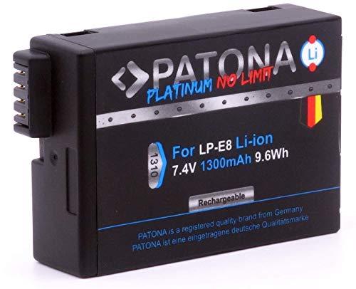 PATONA Platinum Ersatz für Akku Canon LP-E8 (1300mAh) Kraftpaket mit Infochip zu Canon EOS 550D 600D 650D 700D