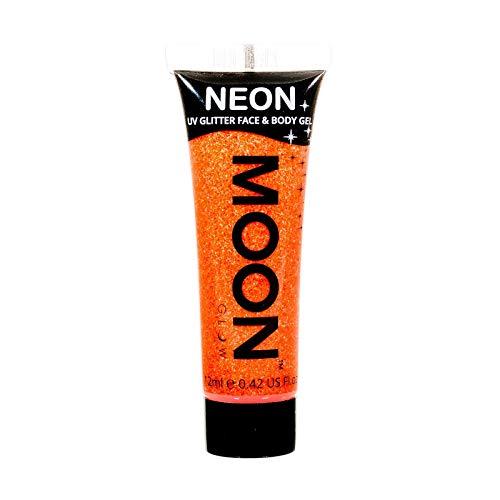 Moon Glow – Gel pailleté fluo UV visage & corps. 12 ml. Orange Fluo Intense. Peinture pailletée pour le visage