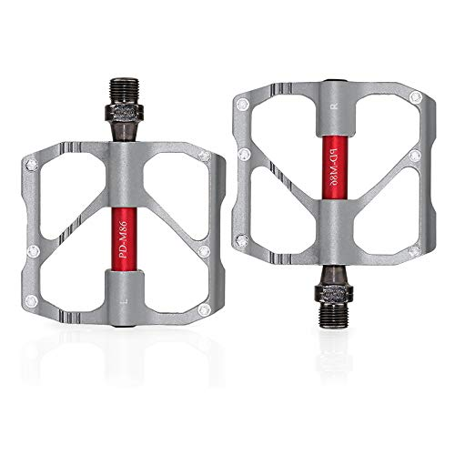 VARWANEO Specialized Bike Pedals Mountain Road Bicycle Flat Adult Metal 9/16' Sealed 3 Bearing Lightweight Aluminum Alloy Wide Platform Cycling Pedal for BMX/MTB (Mountain-Silver)