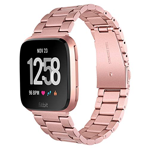 TRUMiRR Compatibile con Fitbit Versa/Versa 2 Uomini Donne Cinturino, Cinturino in Acciaio Inossidabile Solido Bracciale con Cinturino a sgancio rapido per Fitbit Versa/Versa Lite/Versa Special