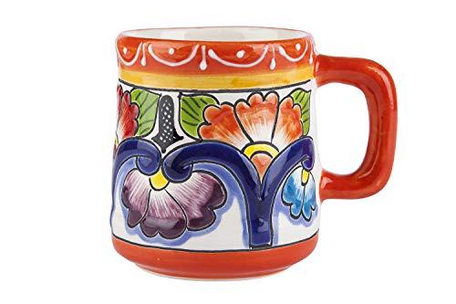 La Original Taza Naranja de cerámica Pintada a Mano en diseños Mexicanos.
