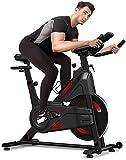 Dripex Vélo d'Appartement Vélo Spinning Ultra-Silencieux avec Capteur Cardiaque, écran LCD, résistance réglable, Porte-Bouteille Appareil Fitness pour la Maison