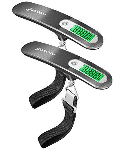 Scala dei Bagagli Digitale (2-Pack), Fosmon [Acciaio inossidabile] appeso scala di peso dei bagagli digitale, fino a 110 lb / 50 kg con funzione di tara - Argento