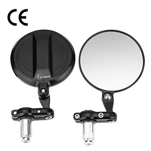 CNC Motorrad Spiegel, 360°drehbarer E24 Geprüfter Lenkerendenspiegel Motorrad Rund, 7/8 22mm Kompatibel mit Scooter Roller ATV MT07 MT09 Z750 Cb125R Z900