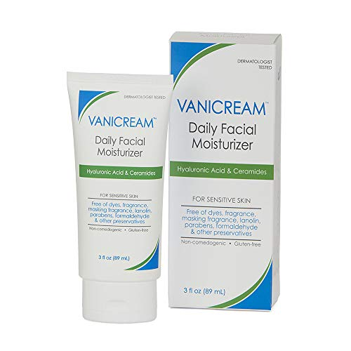 Vanicream Daily Facial Moisturizer, With Hyaluronic Acid, 5 Key Ceramides and Squalane, For Sensitive Skin, Fragrance and Gluten Free, pH-Balanced, Dermatologist Tested, 3 Fl Oz