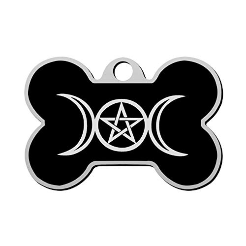 Custom Triple Moon Pentacle Pagan Pet ID Tag Bone Shape Dog Tags & Cat Tags Identity Tags