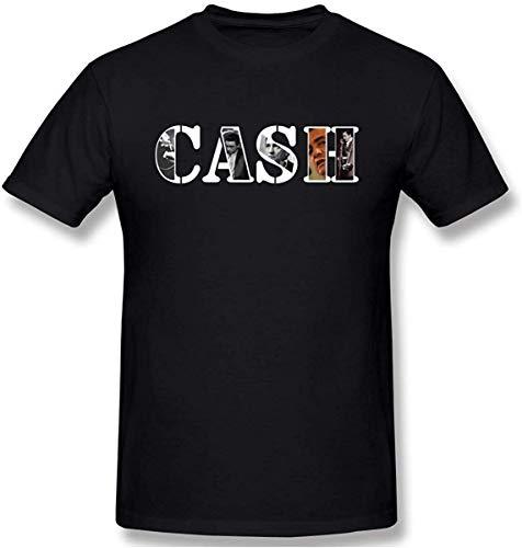 HAIZHENY Hombre/Men's Johnny Cash Logo Restoring Ancient Ways Black Camiseta/T Shirt