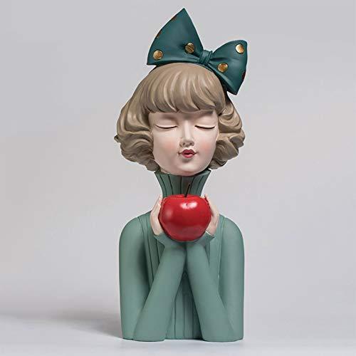 Kunyun Nordic Resina de la Manera Arco Linda Chica Estatua Inicio Escritorio Sala de Estar Porche Decoración Decoración artesanía Creativa del Regalo de cumpleaños del Regalo de Boda (Color : Green)