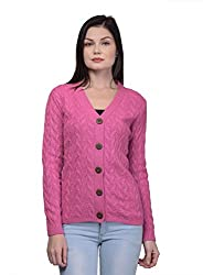 Kalt Womens Full Sleeves Cable Button Acrylic Sweater W801