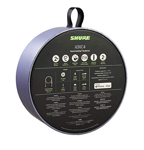 Auriculares Shure AONIC 4 con aislamiento de sonido con cable, sonido nítido, transductor único, ajuste intraural, cable desmontable, compatible con dispositivos Apple y Android - Color blanco