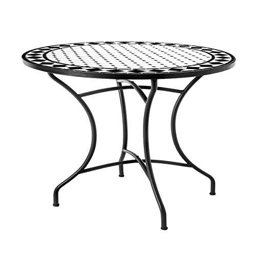 Mesa de jardín de Comedor de cerámica Negra de 75x90 cm - LOLAhome
