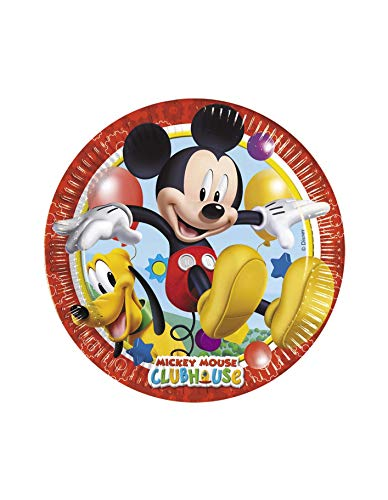 Procos 81840 – Assiettes Papier Mickey Mouse Club House (Ø20 cm), 8 pièces, Multicolore