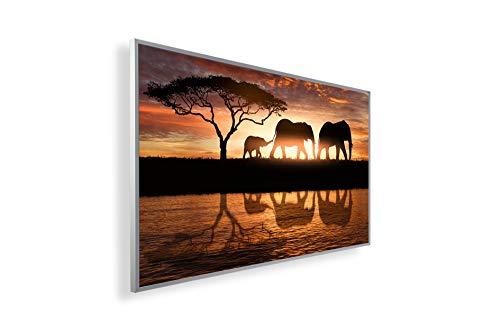 Bildheizung Infrarotheizung mit Digitalthermostat für Steckdose - 5 Jahre Herstellergarantie- Elektroheizung mit Überhitzungsschutz - TÜV geprüft - (Elefantenfamilie im Sonnenuntergang in Afrika;450W)