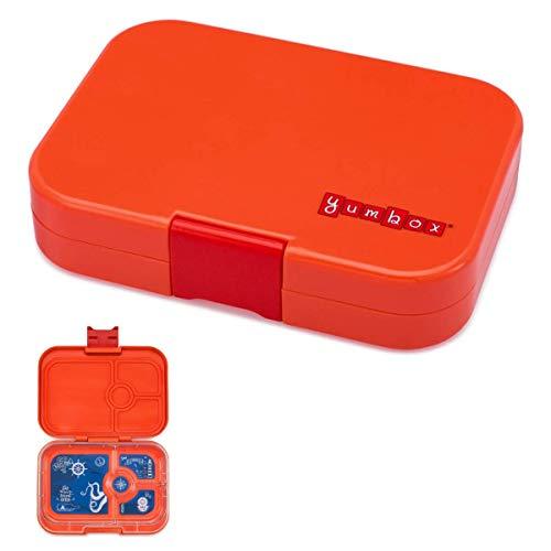 YUMBOX Panino (mit 4 Fächern) - PERSONALISIERBAR - Brotbox/Lunchbox/Bento Box mit fester Fächer-Unterteilung - auslaufsichere Brotdose für Schule - ideal zur Einschulung (Saffron Orange (ohne Namen))