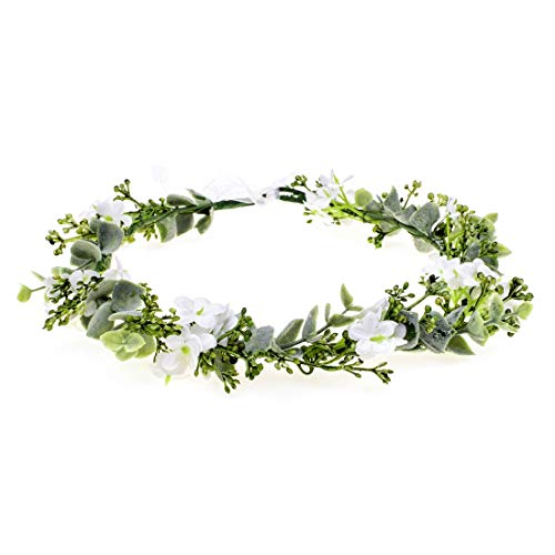 Vividsun Bridal Green Leaf Crown Bohemian Headpiece Floral Headband Photo Prop (white flower)
