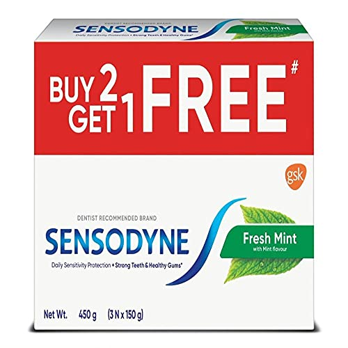 Sensodyne Fresh Mint Toothpaste Sensitivity Relief, Plaque Removal, Cavity Protection, Bad Breath Treatment, 450 grams(Pack of 3)