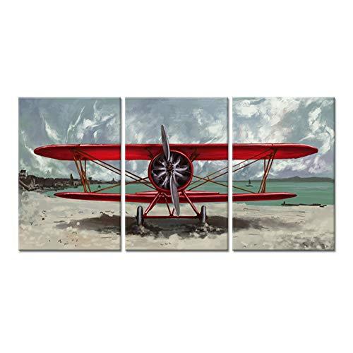 WLEZY HD-druk canvasschilderij 3 stuks canvas muurkunst rood vliegtuig propeller motor vliegtuig naast strand de afbeelding op schildersdoek voor thuis slaapkamer