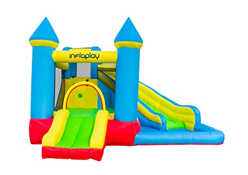 INFLAPLAY Bounce House with Water Slide - Heavy Duty Inflatable Jumping Area with Splash Pool, Climbing Wall, Sprinkler - Playset with Blower, Ground Stakes, Repair Kit, Carrying Bag