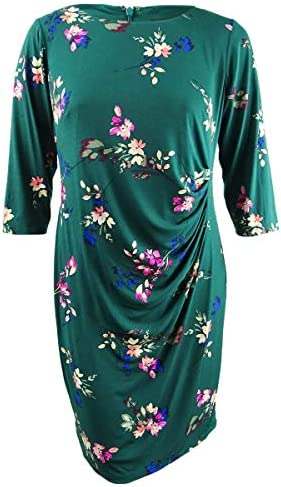 Jessica Howard Womens Plus Floral Jersey Casual Dress Green 18W product image